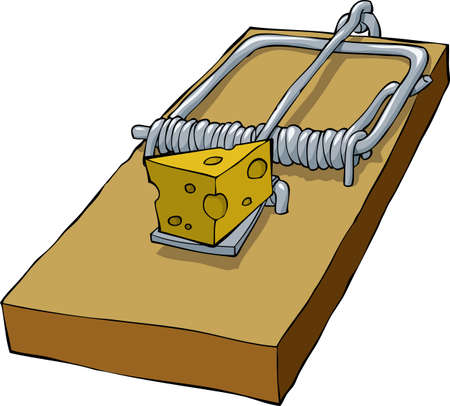 mantrap: Mousetrap on a white background vector illustration
