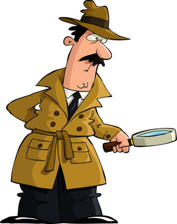 cartoon character: The detective looked through a magnifying glass vector Illustration
