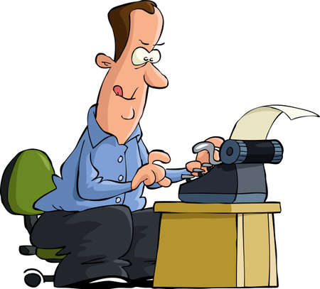 Man on digitando una illustrazione vettoriale macchina da scrivere