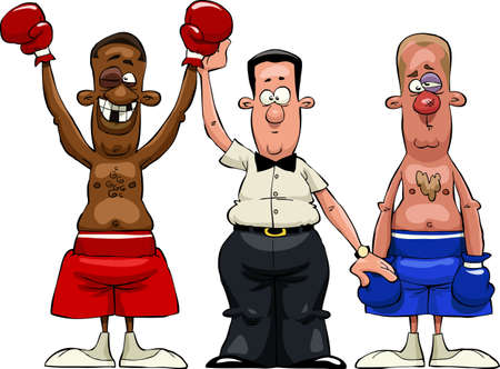 male boxer: The referee declares the winner  Illustration