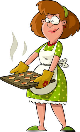 baking: Housewife with hot cakes on the trays  Illustration