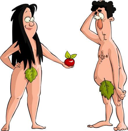 estereotipo: Eva le ofrece a Adán la manzana