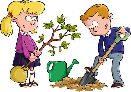 Los niños plantaron un árbol de ilustración vectorial