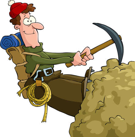 Mountaineer climbing on the rock  Stock Vector - 13142677