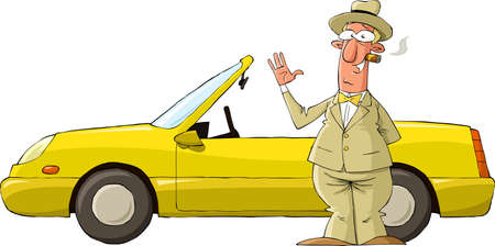 bye: A man on a background of yellow car vector
