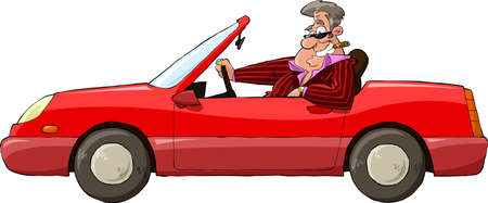 convertible car: A man in a red car vector illustration
