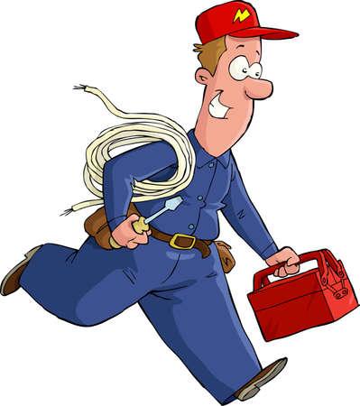 repair man: Electricista se ejecuta con la ilustraci�n vectorial herramientas Vectores