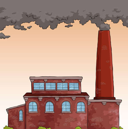 toxic emissions: Gray smoke from a pipe factory vector illustration