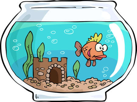 An aquarium with small fish vector illustration