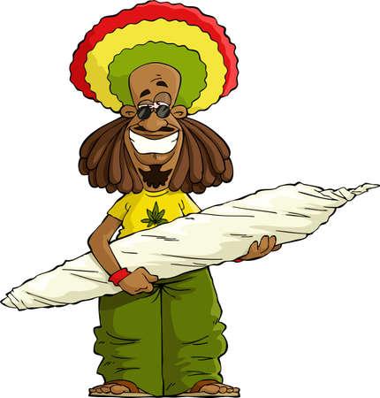 marihuana: Rastaman met een grote marihuana sigaret vector