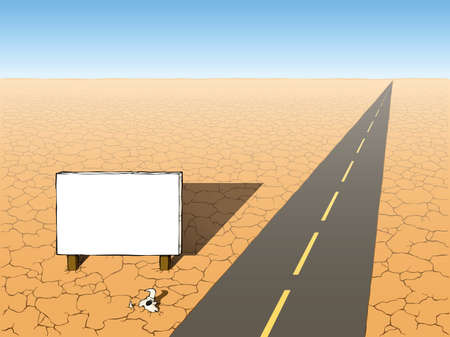 crannied: Road and a billboard in the desert