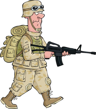 military uniform: A soldier on an isolated background  Illustration