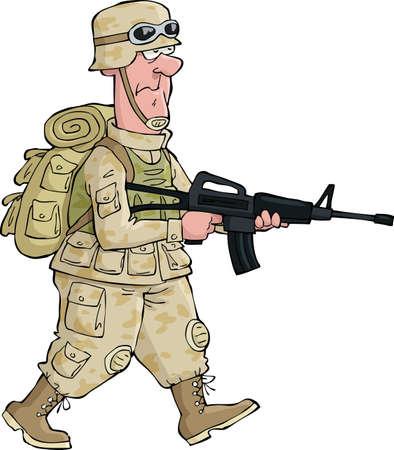 cartoon soldat: Ein Soldat auf einem isolierten Hintergrund