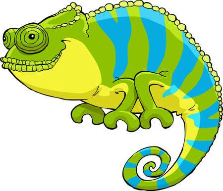 jaszczurka: Kameleon na białym tle ilustracji wektorowych Ilustracja