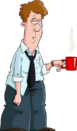 tired cartoon: Tired man with a mug vector illustration