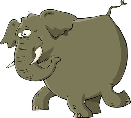 big smile: Elephant on a white background  Illustration