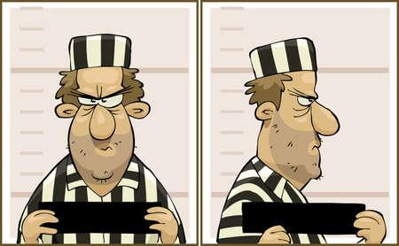 estereotipo: Foto delincuente del frente y de perfil Vectores
