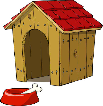 wood house: Dog house and bowl with a bone illustration Illustration