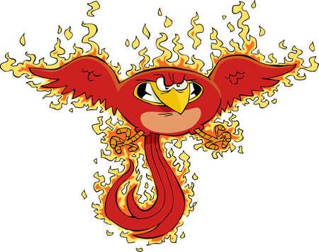 oiseau dessin: Phoenix sur un fond blanc Illustration