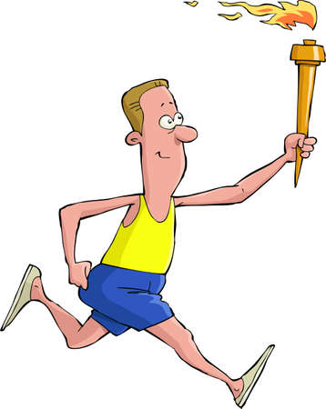 male athlete: A man runs with sports competition torch