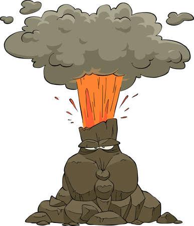 uitbarsting: Uitbarstende vulkaan op een witte achtergrond vector illustratie