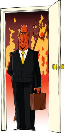 stereotype: Devil in the door and fire vector illustration