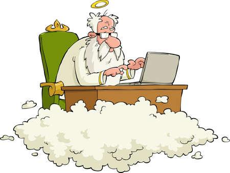 Bóg działa na laptopie ilustracji wektorowych Ilustracje wektorowe