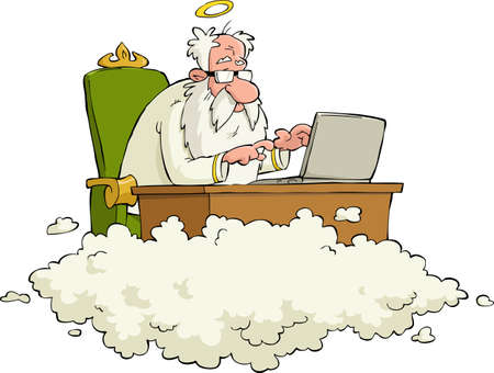 man with laptop: God works for the laptop vector illustration