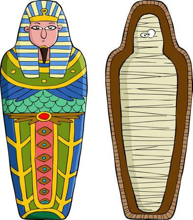 mummie: De sarcofaag op een witte achtergrond vector illustratie Stock Illustratie