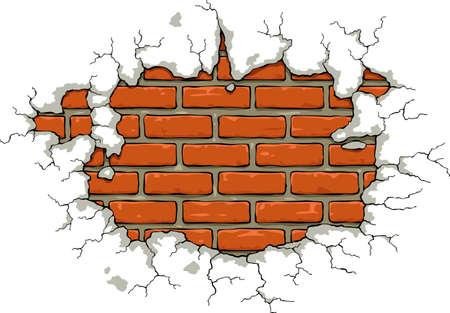 mur platre: Mur de briques avec une illustration pl�tre endommag�