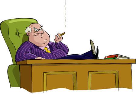 comandante: Boss in una sedia al tavolo del vettore Vettoriali