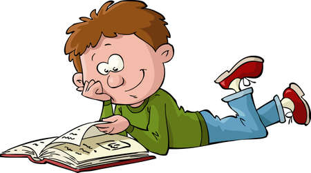 kids reading: A boy reads a book vector illustration