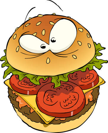 eating burger: Hamburger on a white background Illustration