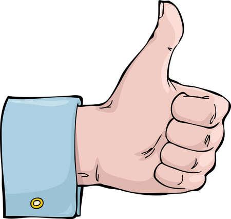 wow: Cartoon hand thumb up gesture