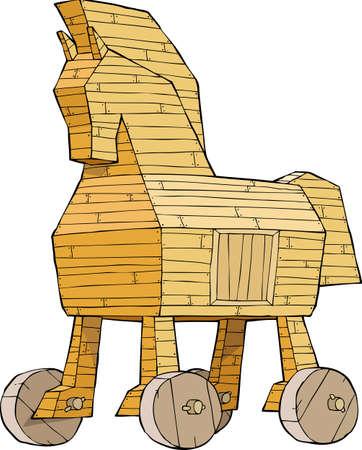 caballo caricatura: Caballo de Troya en un fondo blanco