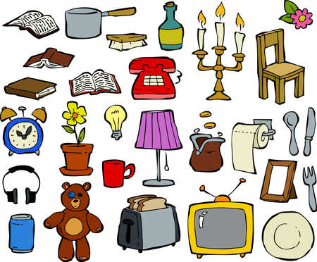 Household items doodle design elements illustration Vector