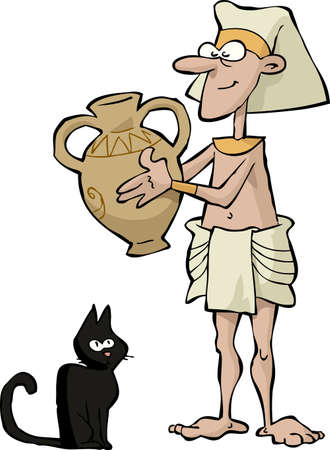 Egyptian with a vase and a cat  Vector