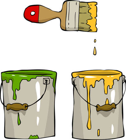 Buckets of paint and brush illustration Vector