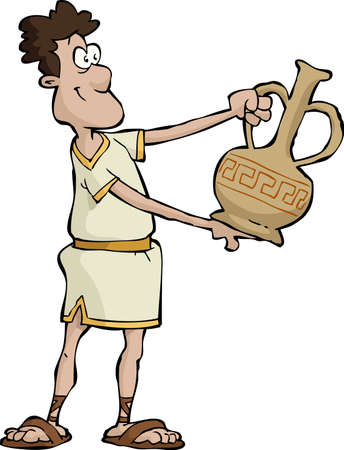 Ancient Greek vase holds in his hands
