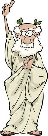 De Griekse filosoof op een witte achtergrond illustratie