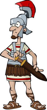 cascos romanos: Legionario en una ilustración de fondo blanco