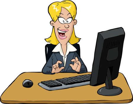 femme dessin: Une femme est assise � une illustration de l'ordinateur
