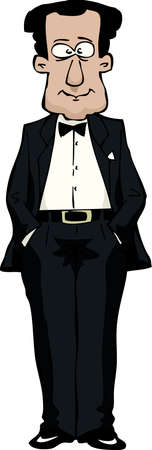 tux: A man in a tuxedo vector illustration Illustration