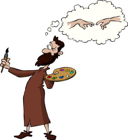 Miguel Ángel en una ilustración de fondo vector