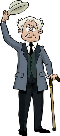 hombre: Retro anciano se quita el sombrero ilustraci�n vectorial