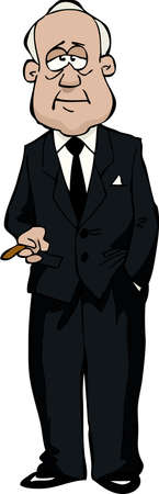 anciano: El anciano con una ilustración vectorial cigarro