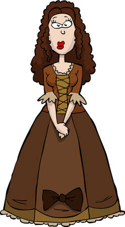 medieval woman: Renaissance Woman in brown dress vector illustration