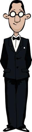 tuxedo man: Cartoon uomo retr� con illustrazione vettoriale occhiali Vettoriali
