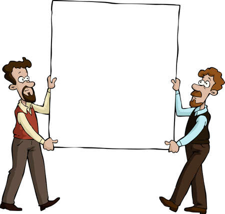 Two men with a picture vector illustration Stock Vector - 14846558