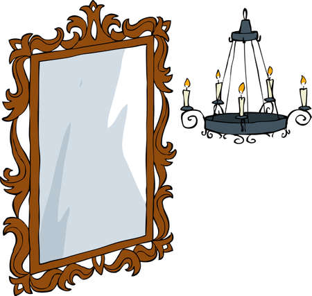 antique furniture: Mirror and a chandelier in baroque style vector Illustration